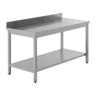 Table inox 160 x 70 x 85H avec dosseret