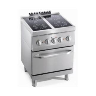 Matériel de cuisson gamme 600 - Meuble inox cuisine avec 4 feux
